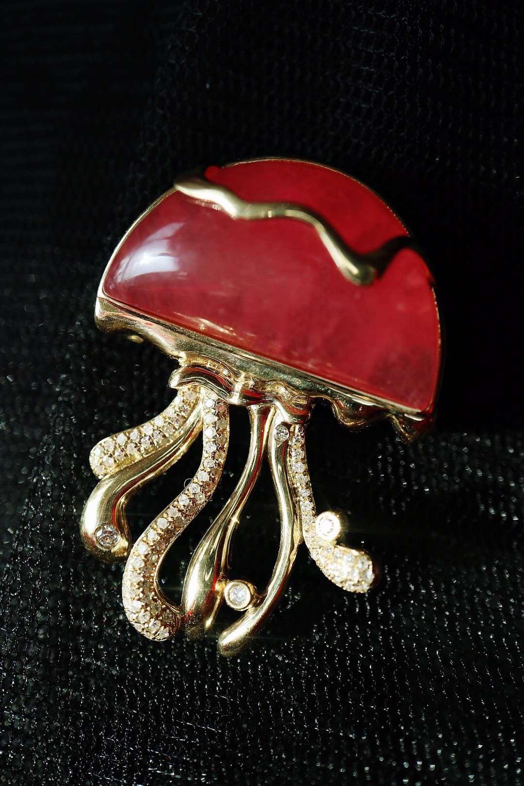 【菩心-红纹石】这一枚红纹石,胸针吊坠两用,很合适很合适。-菩心晶舍