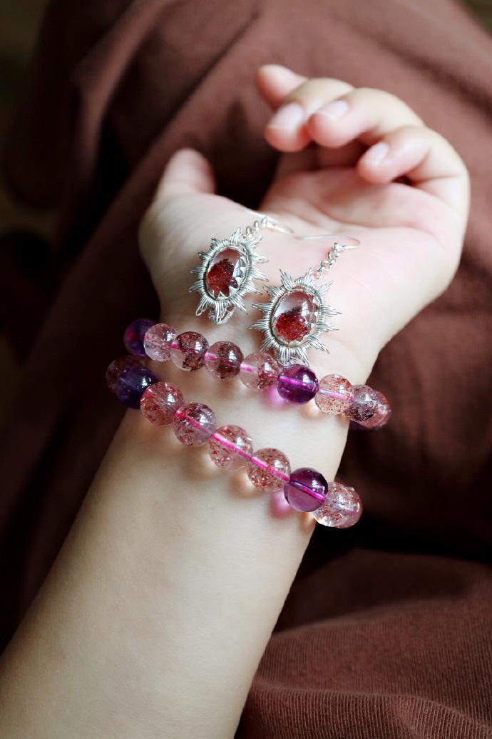 【紫发晶|超七】 三轮骨干发晶,紫发晶、金草莓晶,皆属于他-菩心晶舍