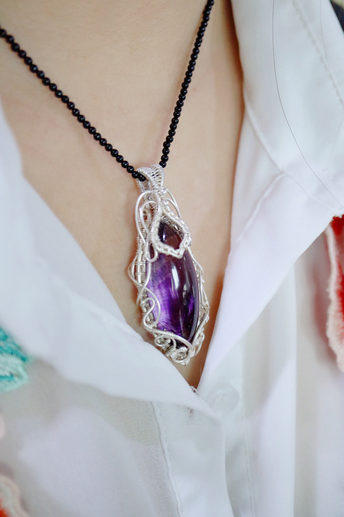 『紫发晶』9999纯银纯手工一点点绕出来的浪漫紫发晶吊坠-菩心晶舍