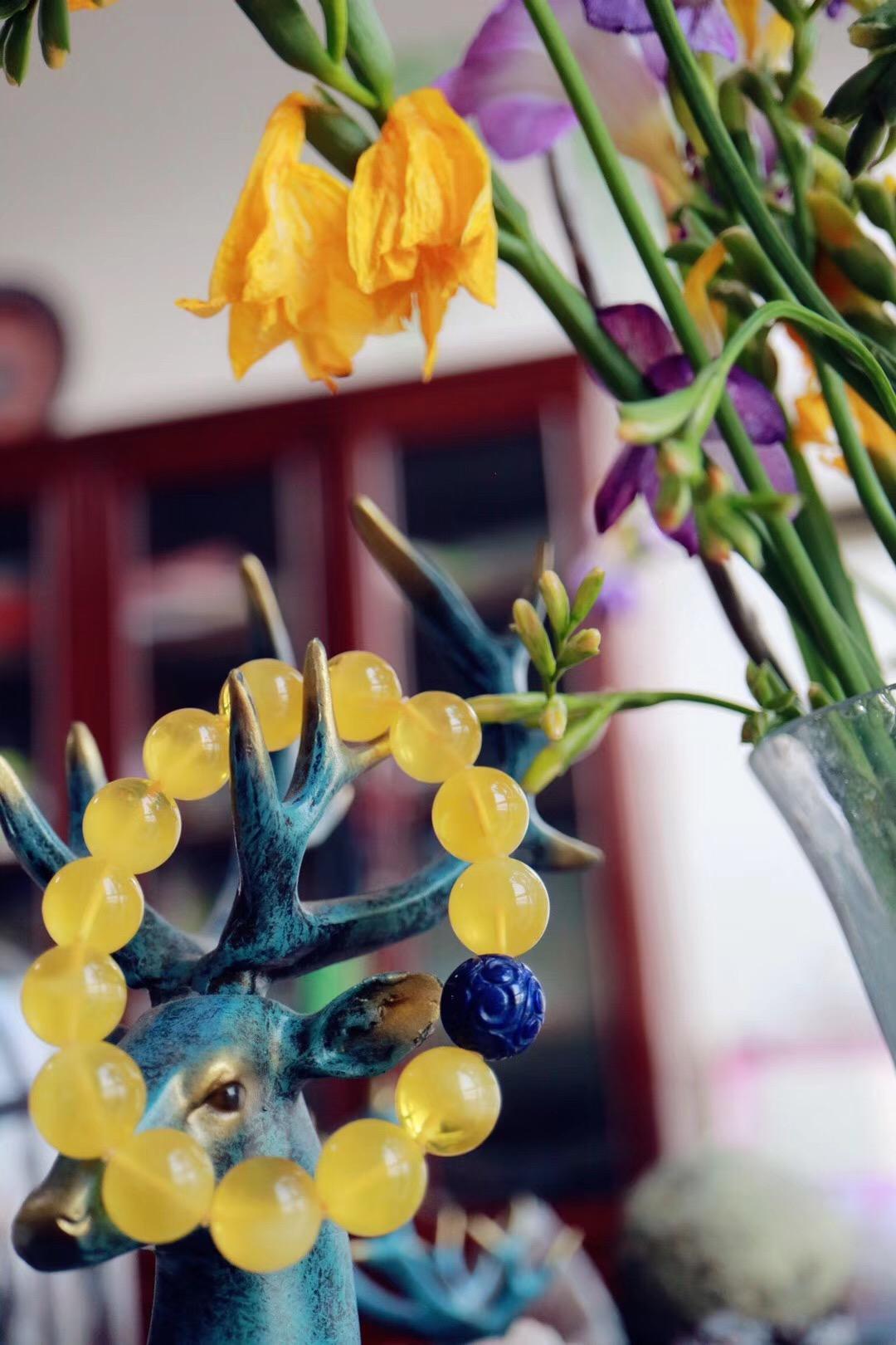 【菩心   蜜蜡 & 老矿青金石】蜜蜡犹如小太阳,暖胃又暖心-菩心晶舍