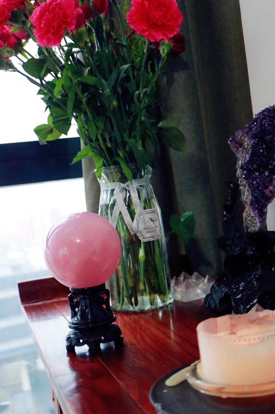【红润粉晶球 | 菩心】粉红色频率可疗愈心中所积累的多年郁结-菩心晶舍