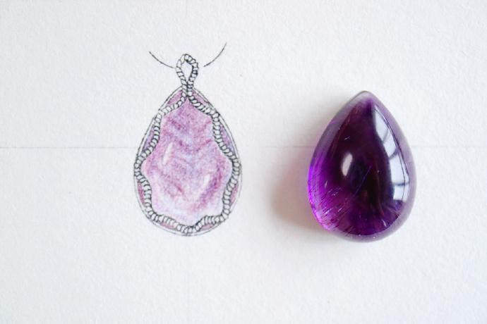 紫发晶 | 白金镶嵌设计稿-菩心晶舍