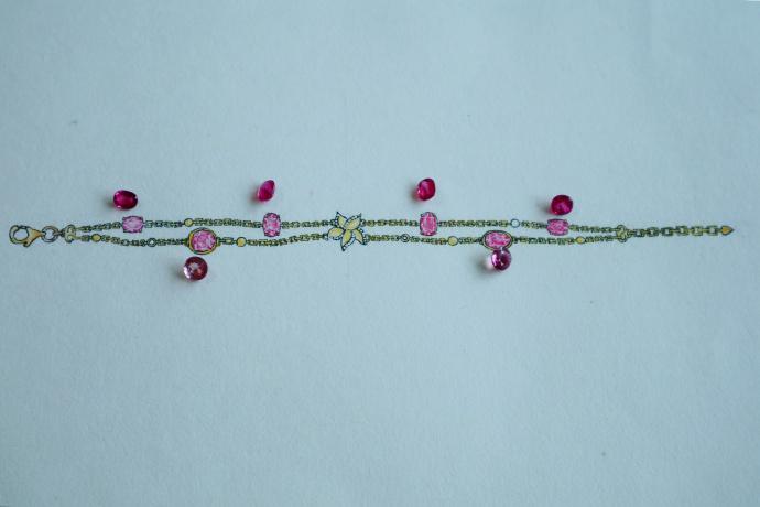 红碧玺手链、托帕石项链小清新设计稿-菩心晶舍