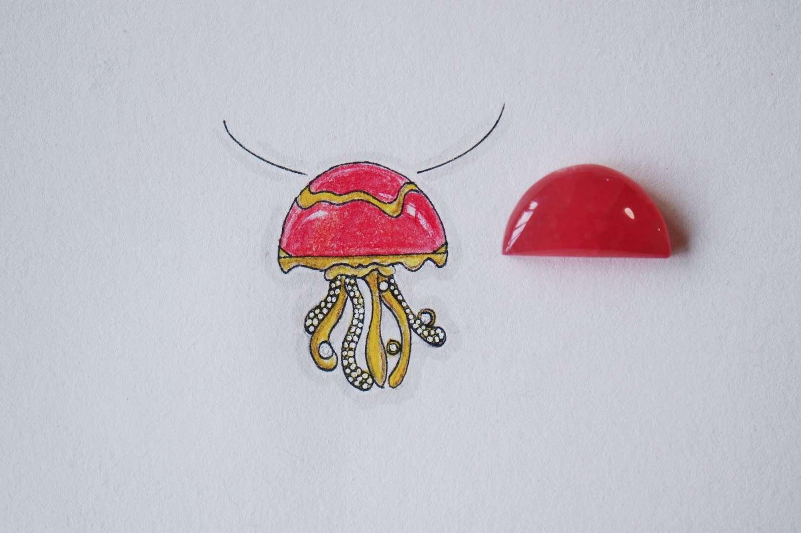 【菩心-红纹石】可爱的红纹石章鱼吊坠,寓意八方来财。-菩心晶舍