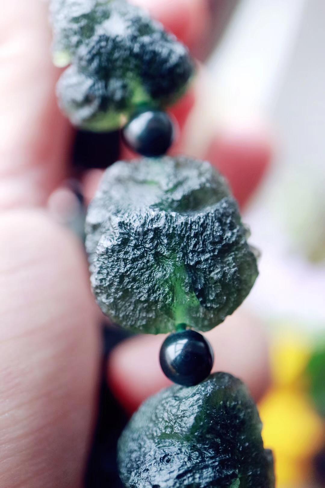 【菩心 | 捷克陨石】捷克原石穿成的手链,能量原始纯正-菩心晶舍