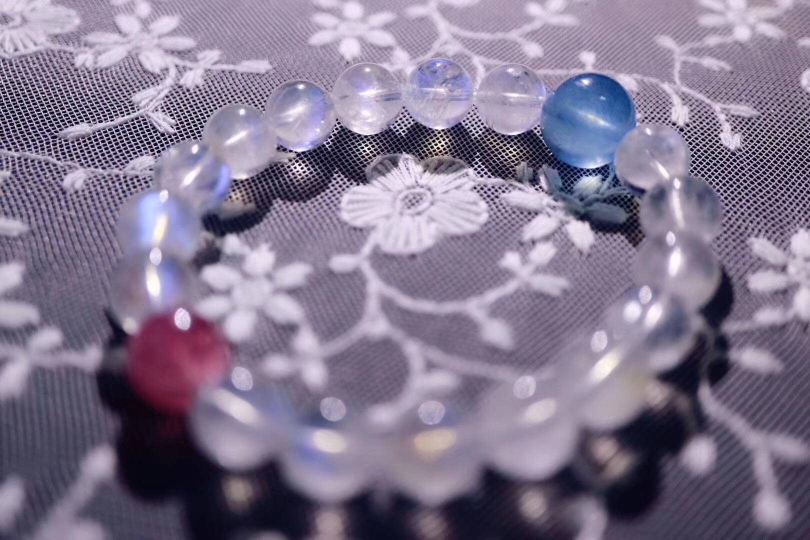 【菩心月光石   红碧玺   海蓝宝】最幸福的时光便是被人深爱着-菩心晶舍