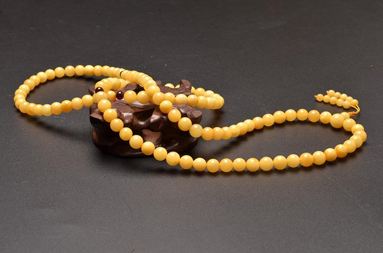 天然精品鸡油黄108颗佛珠蜜蜡手链项链-菩心晶舍