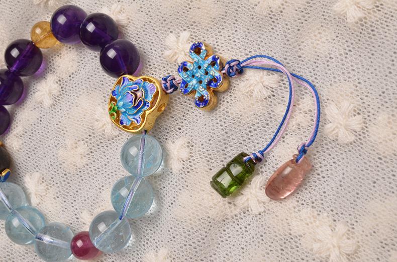 天然深紫乌拉圭紫水晶托帕石碧玺烧蓝女款11m单圈手链-菩心晶舍