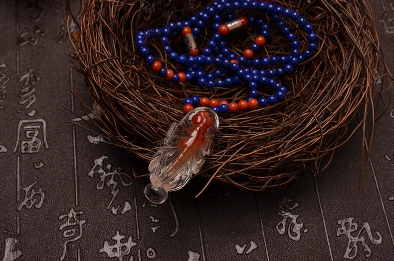 青金石项链红兔毛吊坠时尚女款-菩心晶舍