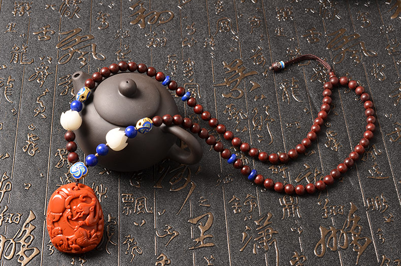 天然精品南红玛瑙仿古龙细雕小叶紫檀象牙果男女款项链-菩心晶舍