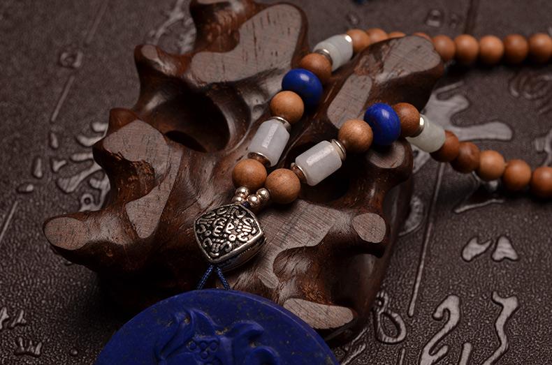天然青金石佛祖拈花沉水老山檀女款项链-菩心晶舍