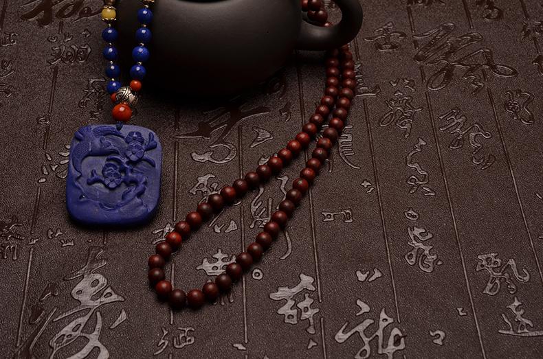 小叶紫檀喜上眉(梅)梢项链-菩心晶舍