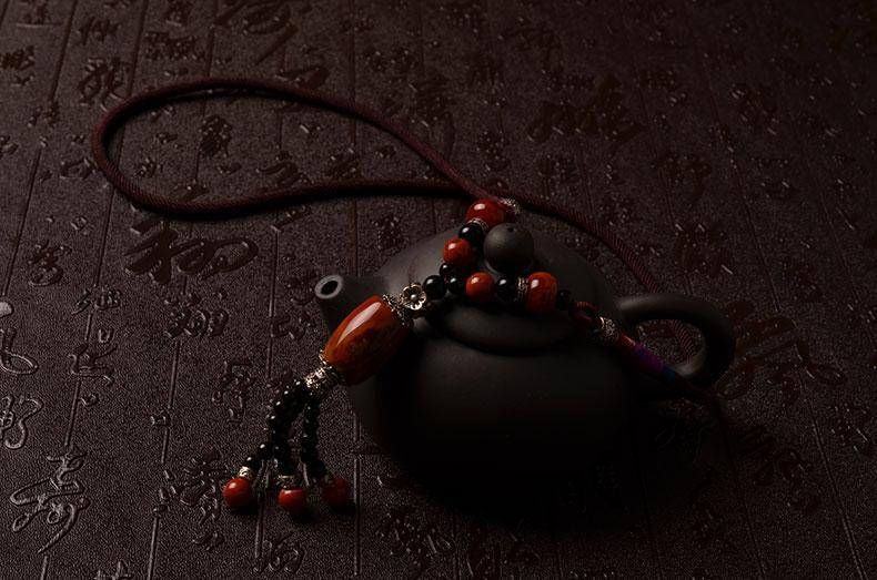 天然战国红玛瑙纯手工编绳复古女款项链-菩心晶舍