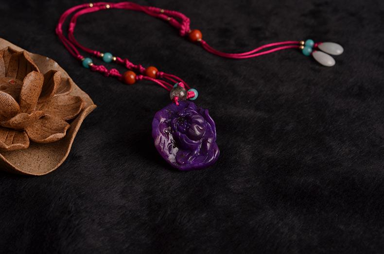 天然精品精雕舒俱来宝石纯手工编绳女款牡丹项链-菩心晶舍