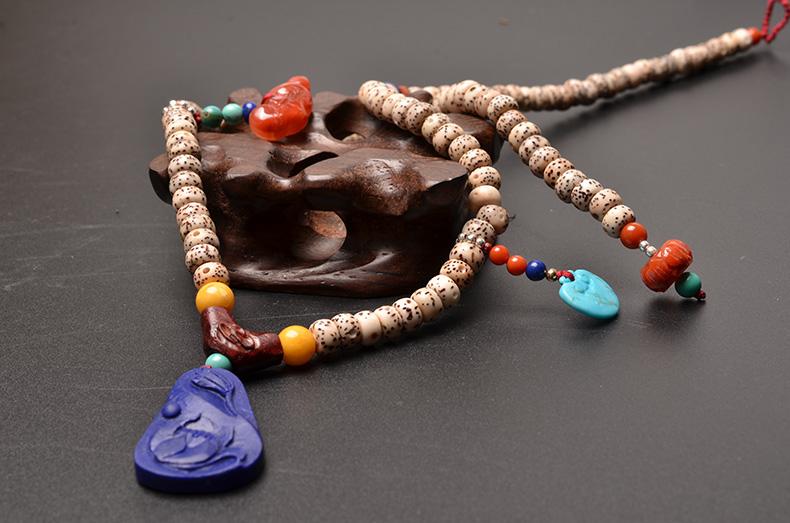 天然星月菩提南红玛瑙青金石绿松石精致小佛珠手链-菩心晶舍