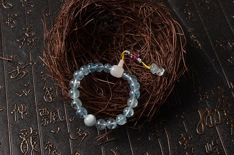 天然精品透体海蓝宝貔貅十八子女款手链-菩心晶舍