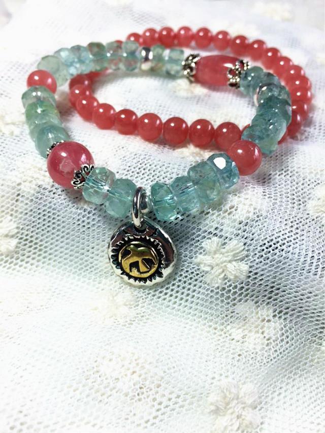 海蓝宝红纹石甜美设计女款手链-菩心晶舍