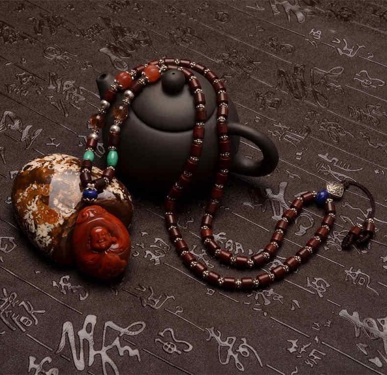精品天然南红玛瑙弥勒佛 南瓜珠小叶紫檀项链-菩心晶舍