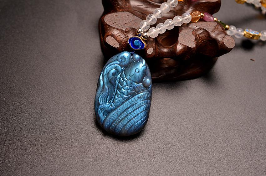 菩心晶舍原创设计年年有鱼满光拉长石搭配碧玺项链-菩心晶舍
