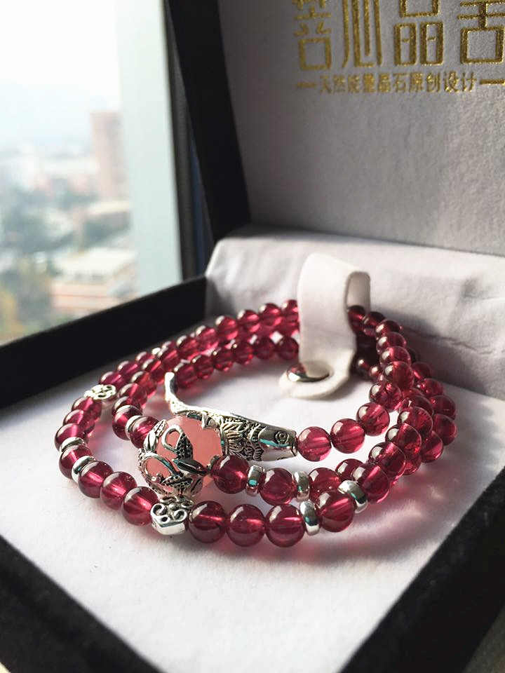 玫红色石榴石搭配粉晶多层女款手链-菩心晶舍