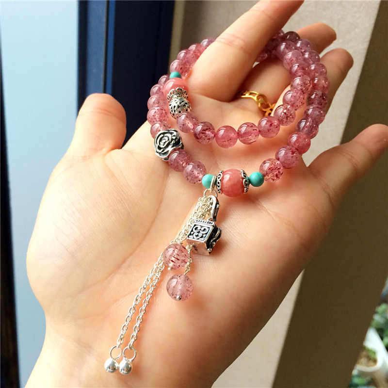 原创天然精品草莓晶原矿绿松石 两层女款甜美手链-菩心晶舍