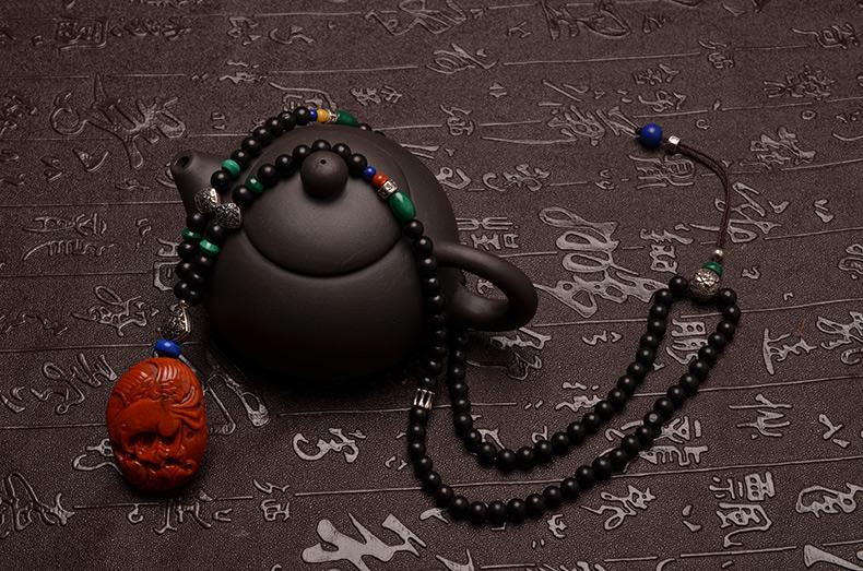 天然精品南红玛瑙大鹏展翅 年年有余黑檀项链-菩心晶舍
