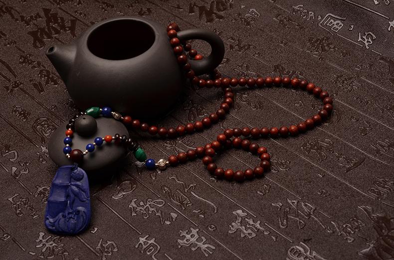 小叶紫檀青金祝(竹)福(蝠)节节高毛衣链-菩心晶舍