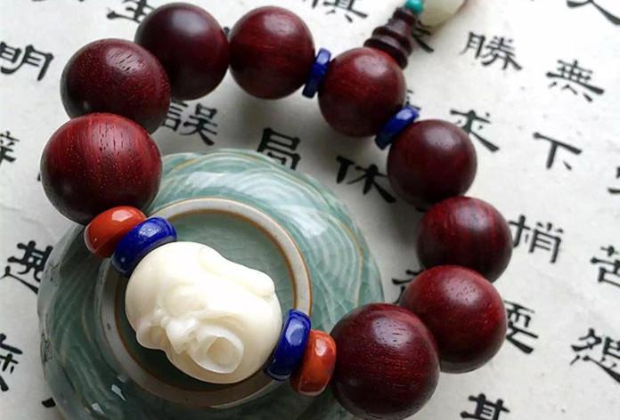 小叶紫檀象牙果男士手链-菩心晶舍
