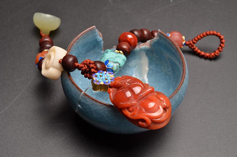 天然南红玛瑙貔貅原矿绿松石小叶紫檀纯手工编绳多宝手串-菩心晶舍