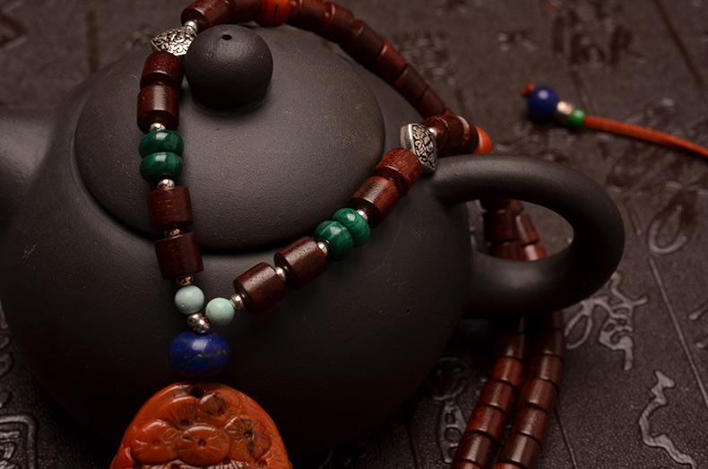 天然精品双面雕刻南红玛瑙松鹤延年如意小叶紫檀项链-菩心晶舍
