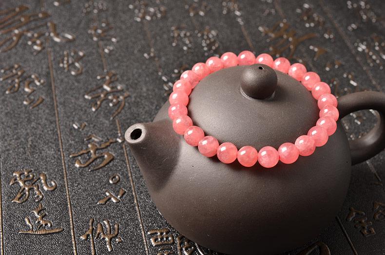 天然7mm阿根廷冰种红纹石女款单圈手链-菩心晶舍