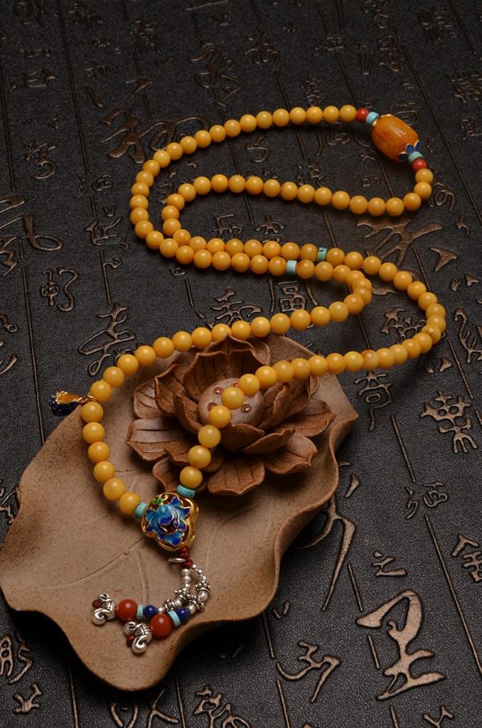 天然精品鸡油黄蜜蜡中式奢华复古长项链-菩心晶舍