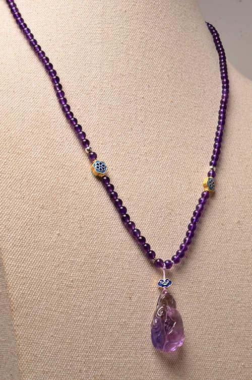 紫水晶搭配花丝烧蓝紫黄晶如鱼得水项链-菩心晶舍