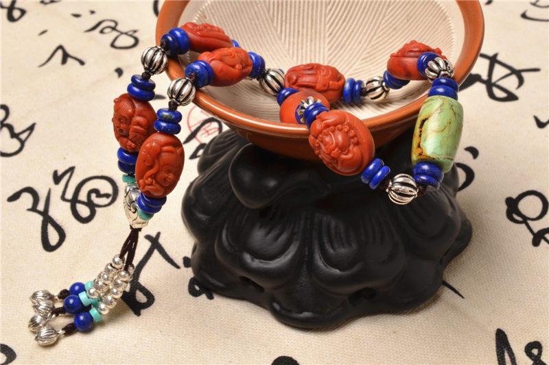 天然精品满肉南红玛瑙八仙雕刻 女款手串-菩心晶舍