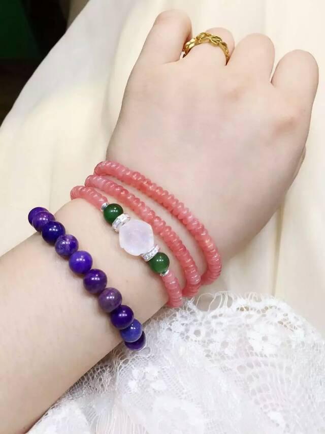 天然原创定制红纹石搭配月光石手链项链通用-菩心晶舍