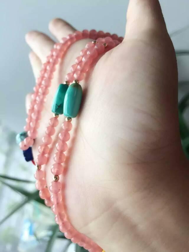 红纹石蜜蜡项链(绿松&青金)-菩心晶舍