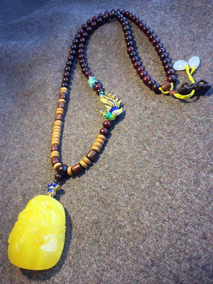 天然原创设计蜜蜡钱袋吊坠配小叶紫檀项链-菩心晶舍