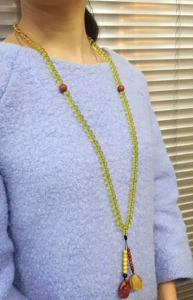 天然原创设计顶级琥珀毛衣链-菩心晶舍