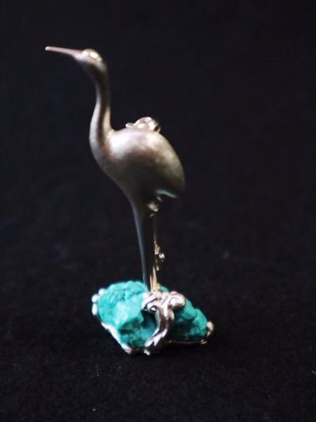 【原矿绿松|胸针】大师级纯手工镶嵌高蓝原矿绿松石-菩心晶舍