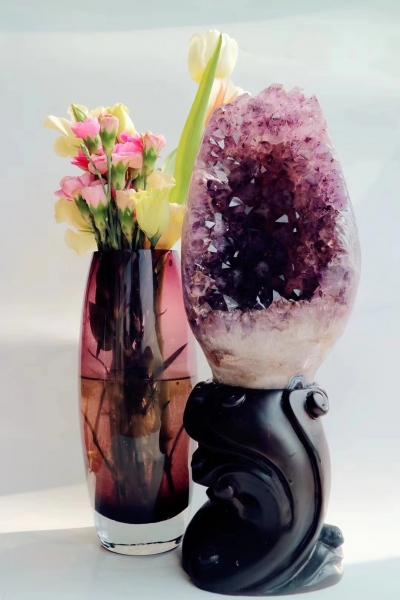 【紫晶摆件】紫晶洞是最常见的消磁、改善风水摆件-菩心晶舍