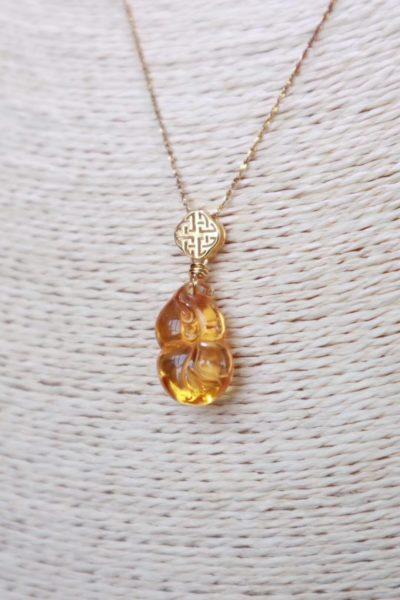 【黄水晶】一件葫芦一件福豆,寓意吉祥,雕工精致-菩心晶舍