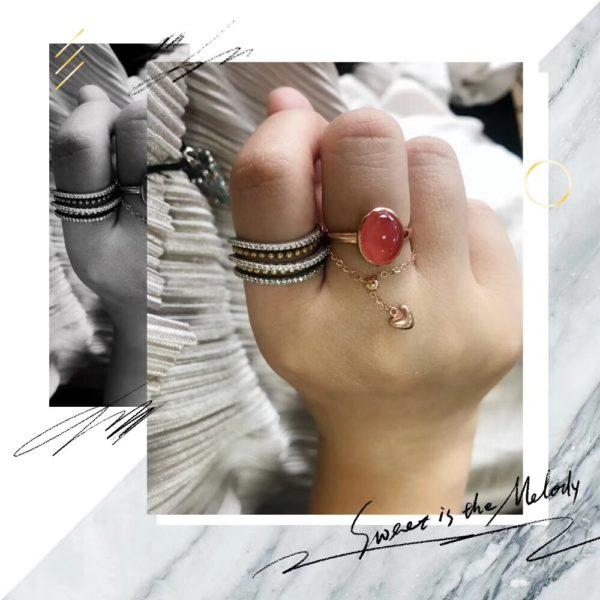 红纹石简单大气款,配上18k金调节链戒,妥妥滴拍照神器-菩心晶舍