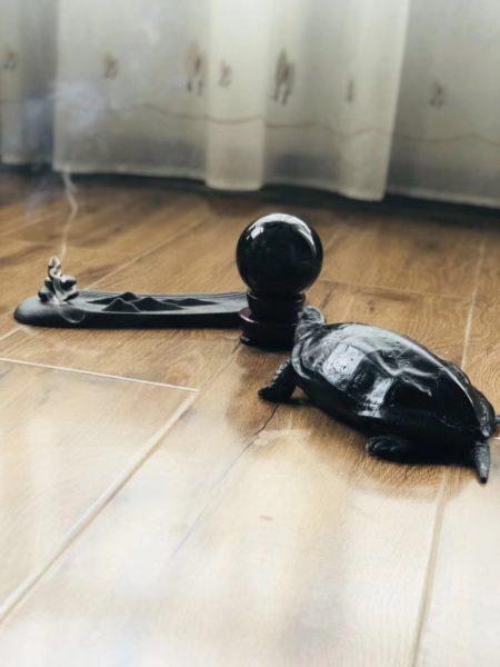 """黑曜石球球,被称为""""黑金刚武士""""-菩心晶舍"""