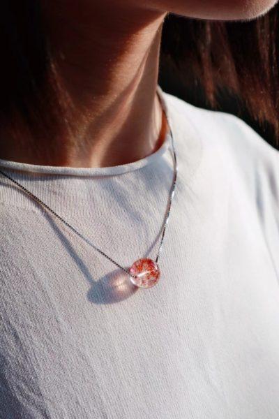 【金草莓晶】 极简的金草莓晶(招财招贵人)锁骨链-菩心晶舍