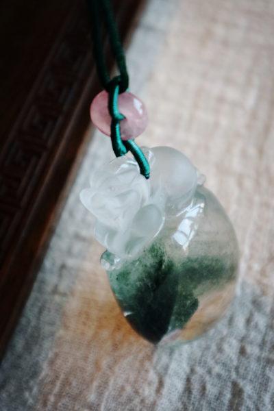 【绿幽灵-千层山】  一枚超大的千层山绿幽灵,貔貅护之-菩心晶舍