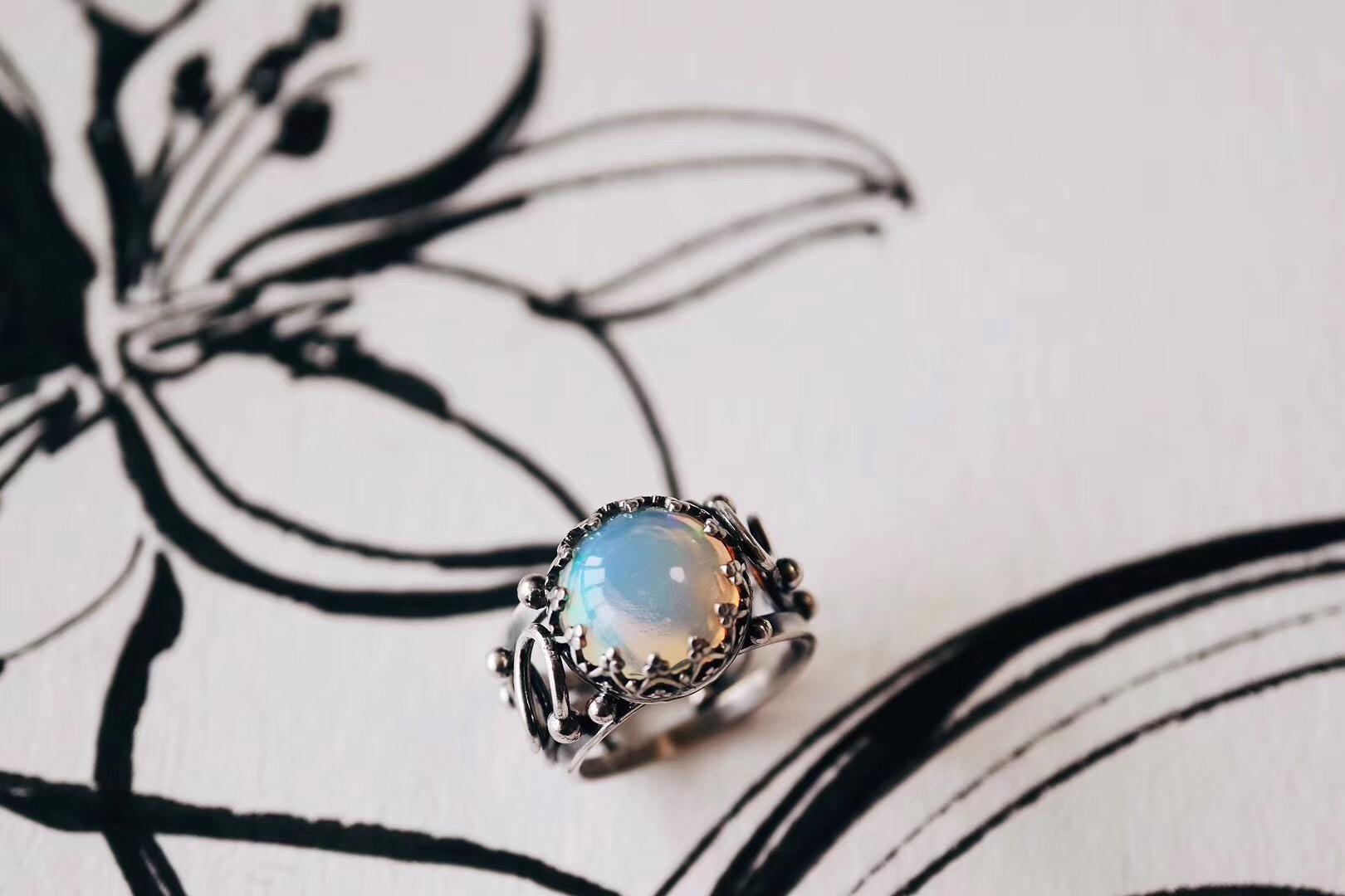 【菩心|欧泊】一款希望和安乐之石--欧珀绕线蕾丝戒-菩心晶舍