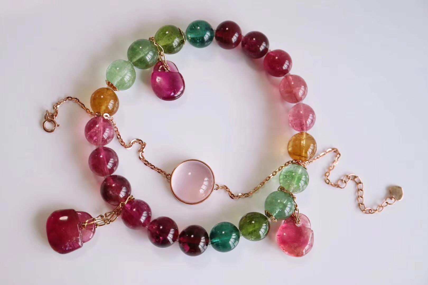 【菩心-彩虹碧玺、粉晶细链】两件美物,皆为菩心的经典~-菩心晶舍