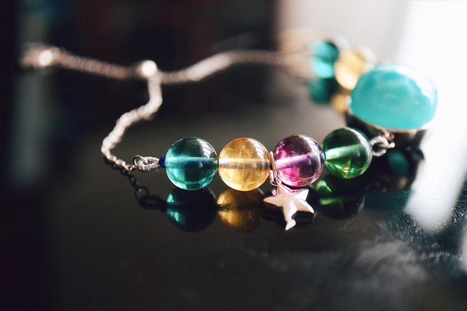 【菩心-碧玺戒、海纹石仙女白金链】戴上菩心的彩虹珠宝,你就是最闪亮的摩登Queen。-菩心晶舍