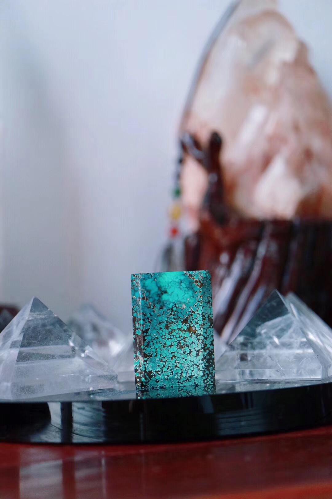【菩心 | 原矿绿松石无事牌】 网花纹理的绿松石耐人寻味-菩心晶舍