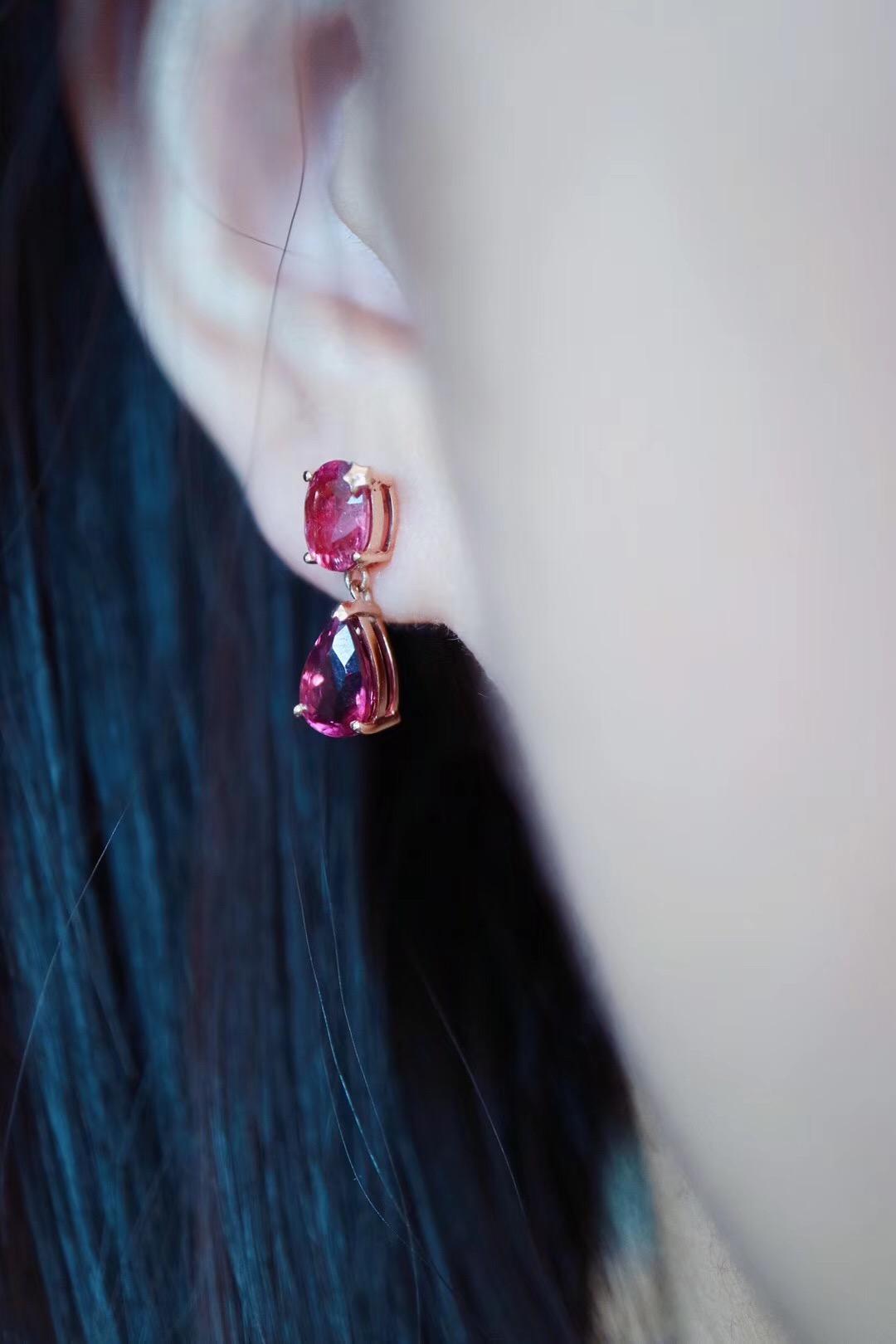 【菩心-红碧玺耳钉】精致的红碧玺耳钉,美人必备。-菩心晶舍